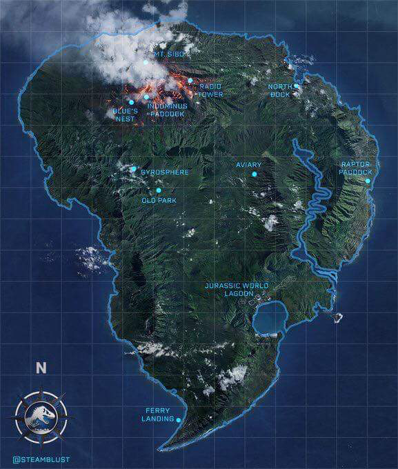 Isla nublar jurassic parkjurassic world sf sf tg map made by steamblust as part of the 2018 sequel correcting where the lagoon and the jurassic world park itself was gumiabroncs Choice Image